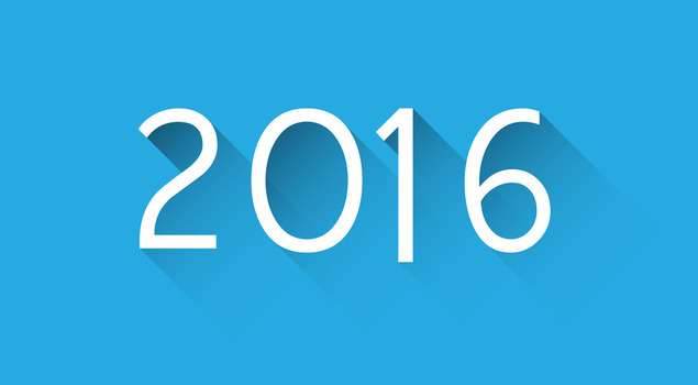 Happy 2016 new year word over blue. Vector paper illustration.